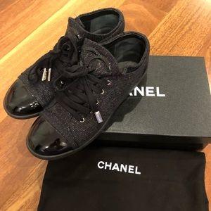 CHANEL lurex tweed lace up sneaker, sz 38